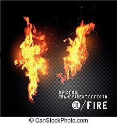 brûler, vecteur, réaliste, flammes