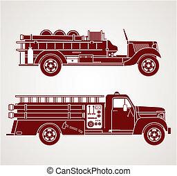 brûler, vendange, camions