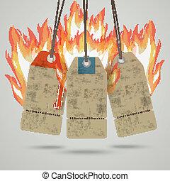 brûler, vendange, coût, 3, chaud, autocollant