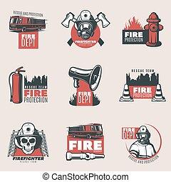 brûler, vendange, protection, ensemble, logos