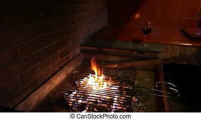 brûler, verre, barbecue