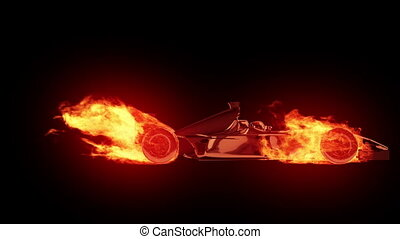 brûler, voiture, 1, course, cycle