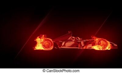 brûler, voiture, 1, course