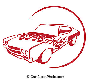 brûler, voiture, muscle
