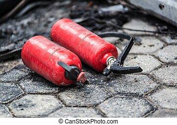 brûler, voiture, utilisé, extincteur