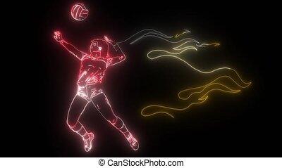 brûler, volley-ball, femme, joueur vidéo, puissance, résumé