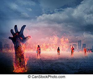 brûler, zombi, terrestre, levée, main