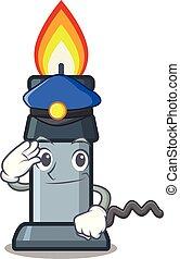 brûleur, bunsen, police, isolé, dessin animé