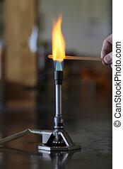 brûleur, flamme, bunsen