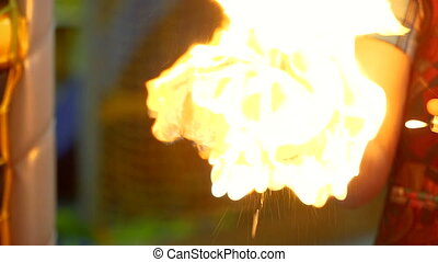 brûlures, burn., main humaine