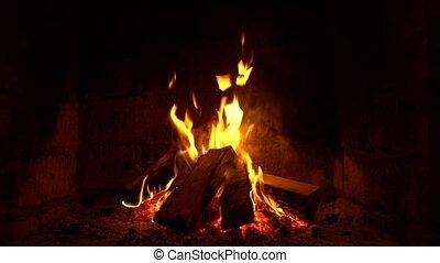 brûlures, garder, brûler, warm., cheminée