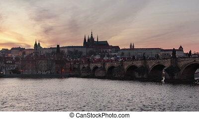 Brücke, Übergang, FEHLER,  charles, Prag, Zeit,  day-to-night