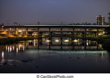 brücke, bach, metro, jungnangcheon