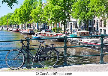 brücke, fahrrad, amsterdam