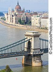 brücke, kette, ungarischer , ungarn, budapest, parlament