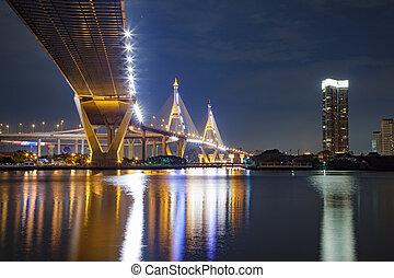 brücke, nacht szene, bangkok, unter, bhumibol, thailand, ansicht