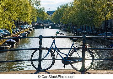 brücke, niederlande, fahrrad, amsterdam