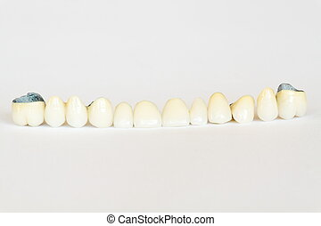 brücke, platte, porzellan, krone, (dentistry), gebiss, ...