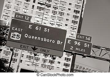 brücke, queensboro, zeichen