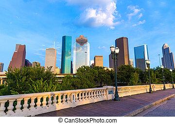 brücke, sabine, houston, uns, st, skyline, texas