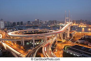 brücke, shanghai, porzellan, night., nanpu