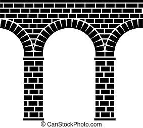 brücke, stein, uralt, aquädukt, viadukt, seamless, vektor