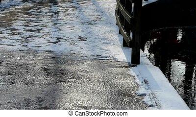 Brücke, Straße, Schnee, eis, bedeckt