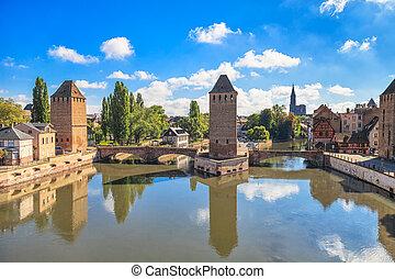 brücke, strassburg, mittelalterlich, elsaß, ponts, france., ...