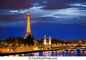 brücke, terz, touristic, standort, paris., populär,...