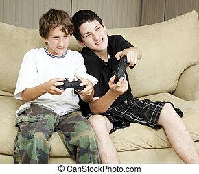 brüder, spielen, videospiele