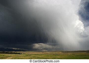 brüllen wolken, rolle, in, über, großer himmel, land,...
