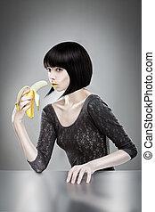 brünett, banane, besitz