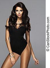 brünett, damenunterwäsche, modisch, attraktive, studio, frau, posierend, sexy