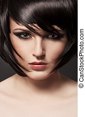 brünett, girl., hair., hairstyle., gesunde, schöne