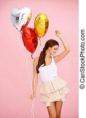 brünett, luftballone, tanzen