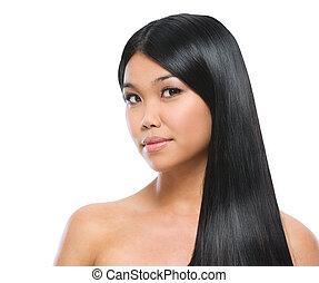 brünett, schoenheit, gerade, glatt, freigestellt, langes haar, asiatisch, porträt, m�dchen, weißes