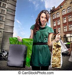 brünett, shoppen, junger, schoenheit