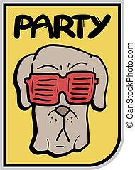 brýle, pes, strana