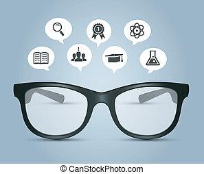 brýle, s, školství, ikona