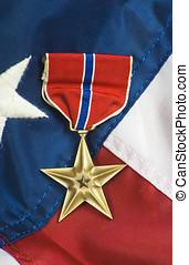 brąz, gwiazda, na, usa bandera