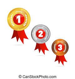 brąz, pierwszy, trzeci, złoty, wektor, medals:, drugi, ...