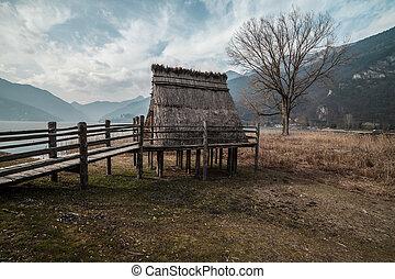brąz wiek, pile-dwelling, wieś, w, włochy, -, ledro, jezioro, trentino.