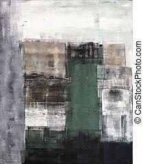 brązowy, abstrakcyjna sztuka, szary, zielony