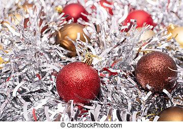 brązowy, błyskotka, złoty, tło, zabawki, kwiaty, srebro, czerwony, boże narodzenie