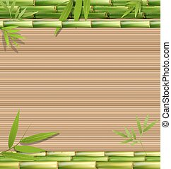 brązowy, bambus, trawa, zielony
