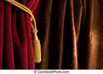 brązowy, czerwony, teatr, kurtyna