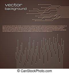 brązowy, elementy, abstrakcyjny, microchip., tło, techniczny