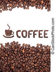 brązowy, fasole kawy, upieczony