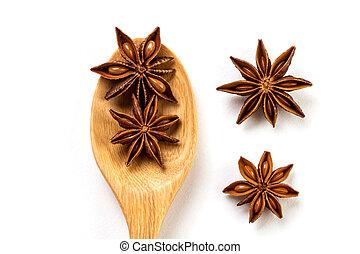 brązowy, gwiazda, drewniany, anyż, do góry, odizolowany, łyżka, tło, zamknięcie, biały, przyprawa