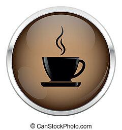 brązowy, kawa, icon.